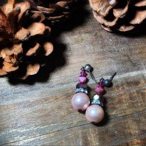 Jewelry - Pink Faux Pearl & Glass Bead Dangle Earrings